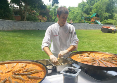 paella station garden catering chef Carlos